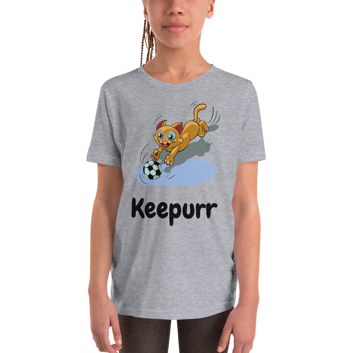 Y2 - Funny Cat Soccer Keeper Youth Short Sleeve T-Shirt