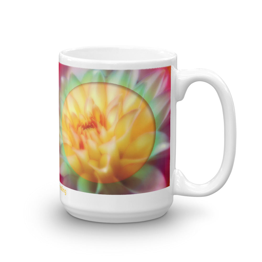 1 - Angel Guided Healing - Bright Yellow/Pink Lotus Mug