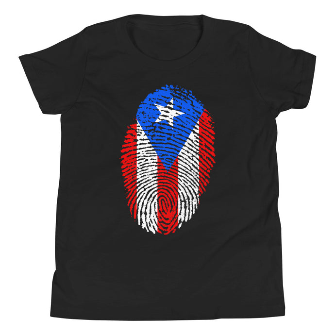 F2 - Puerto Rican Flag Fingerprint Youth Short Sleeve T-Shirt