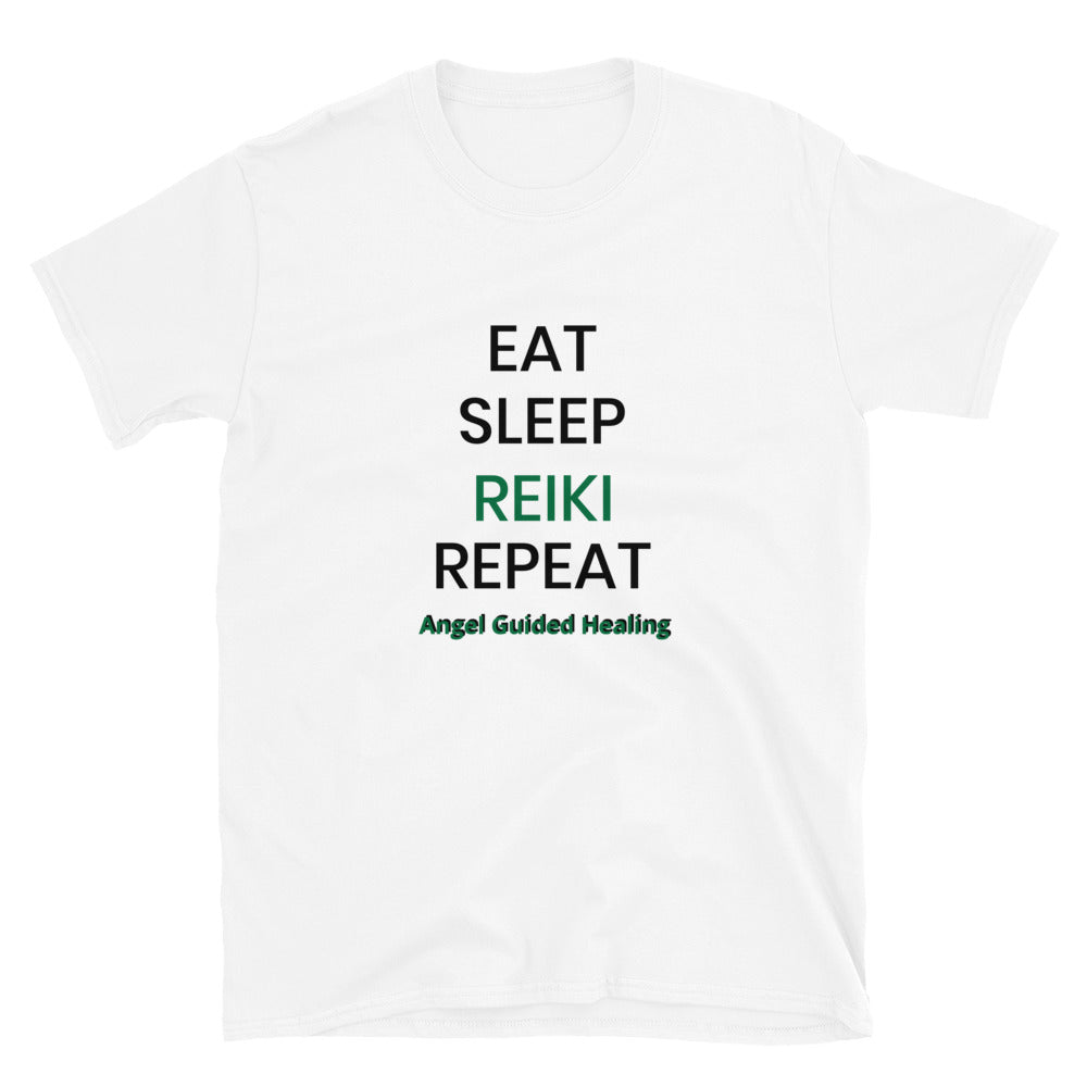 Angel Guided Healing - EAT SLEEP REIKI REPEAT Short-Sleeve Unisex T-Shirt