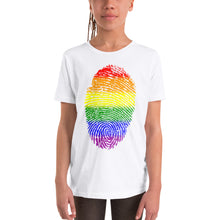 Load image into Gallery viewer, F9 - Pride Flag Fingerprint Youth Short Sleeve T-Shirt