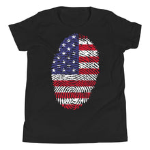Load image into Gallery viewer, F - US Flag Fingerprint Youth Short Sleeve T-Shirt