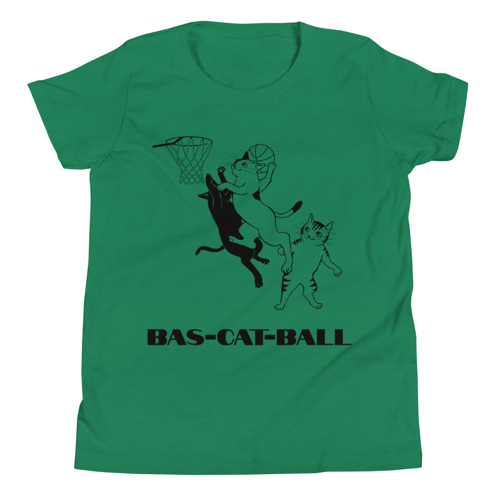 Y6 - Bas-cat-ball funny basketball Youth Short Sleeve T-Shirt