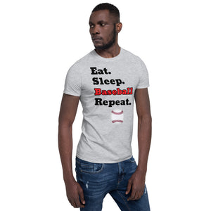 D6 - Eat Sleep Baseball Repeat Short-Sleeve Unisex T-Shirt