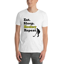 Load image into Gallery viewer, D6 - Eat Sleep Hockey Repeat Short-Sleeve Unisex T-Shirt