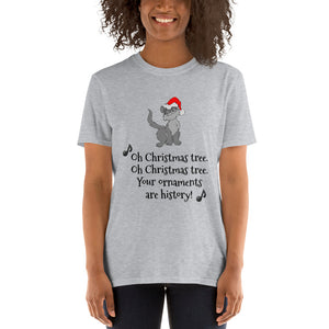 H - Funny Christmas Tree Cat Short-Sleeve Unisex T-Shirt