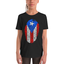 Load image into Gallery viewer, F2 - Puerto Rican Flag Fingerprint Youth Short Sleeve T-Shirt