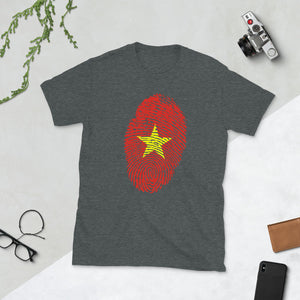 F8 - Vietnamese Flag Fingerprint Short-Sleeve Unisex T-Shirt