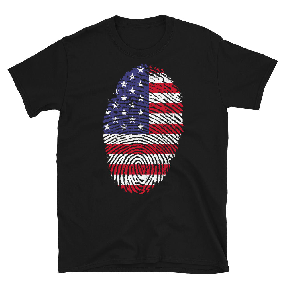 F - US Flag Fingerprint Short-Sleeve Unisex T-Shirt