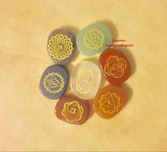 7 Chakra polished Crystals with engraving