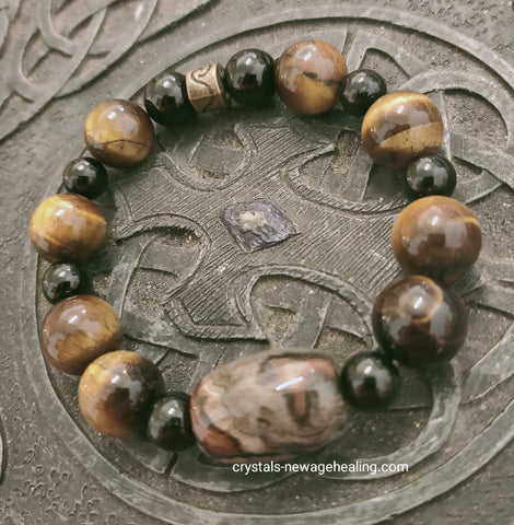 Bracelet- Five Element Stone (Lucky Charm Stone) with Tiger Eye & Black Tourmaline