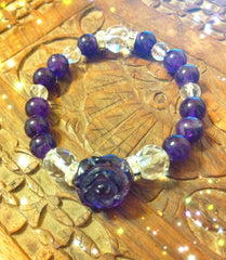 Bracelet- Amethyst with Rose shaped Amethyst