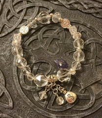 Bracelet- Clear Quartz - Manifestation 'FU'  ** Happiness & Treasure bag-1