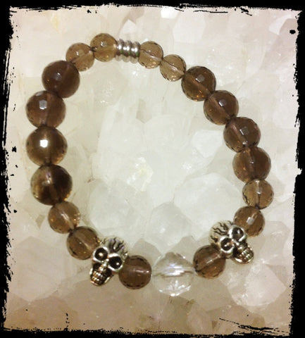 Bracelet- Smoky Quartz with skulls