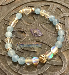 Bracelet Aquamarine with Midnight Moonstone