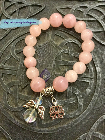 Bracelet- Madagascar Rose Quartz Love Attractions & Angel's Blessings & Peace