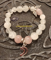 Bracelet - Selenite & Rose Quartz Moon