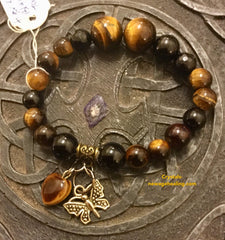 Bracelet- Tiger Eye & Black Tourmaline for protection with butterfly