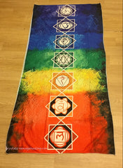 7 Chakra Symbols Coloured Tapestry Mat- Thin