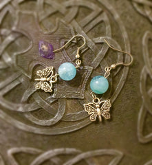 Earrings - Aquamarine with butterfly