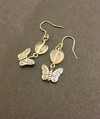 Earrings - Rose Quartz Heart Butterfly