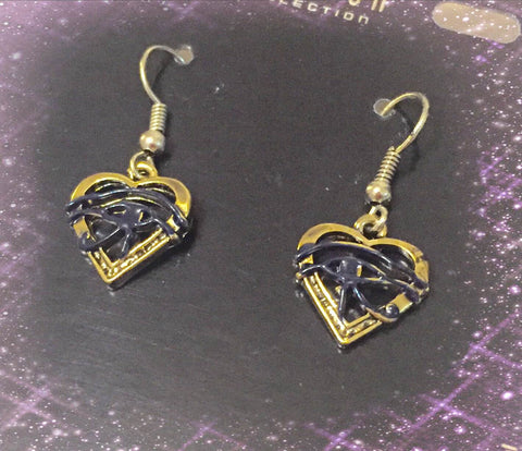 Earrings-  Eye of Horus Heart