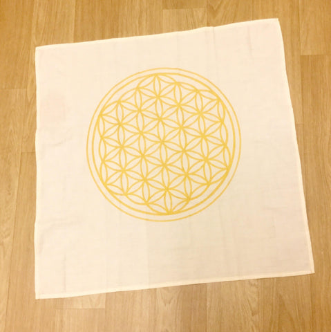 Flower of Life grid cloth estimated 58cm x 58cm beige color