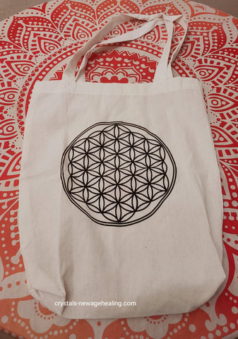 Flower of Life sling bag white