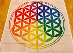 Flower of Life grid cloth colored large estimated 128 x 136cm