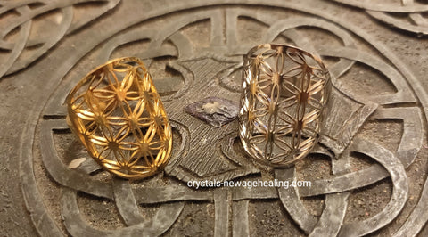 Flower of Life Ring adjustable stainless steel