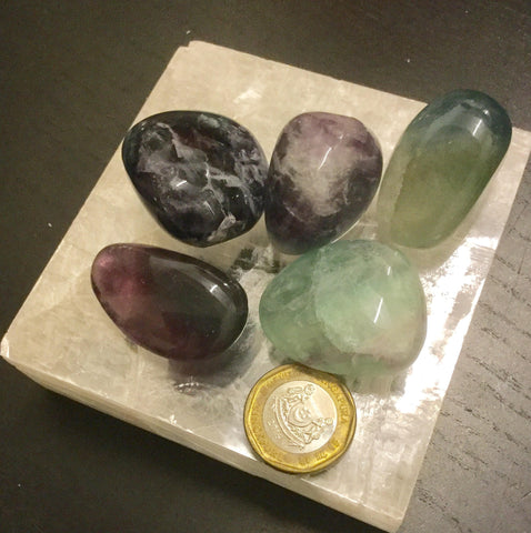 Fluorite tumbled crystals