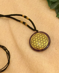 Necklace adjustable rope- Flower of Life -Amethyst