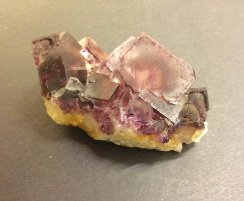 Purple Fluorite on Quartz- 60x 32x 24mm