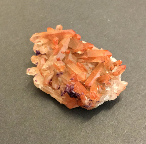 Fluorite on Orange Quartz Cluster- 64x 42x 20mm