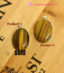 Pendant- Tiger eye oval - 40 x 30mm