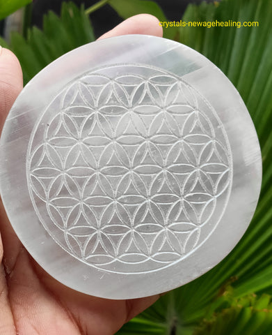 Crystal Selenite Flower of Life round