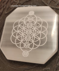 Crystal Selenite Flower of Life Chakra Octagon