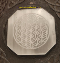 Crystal Selenite Flower of Life Octagon