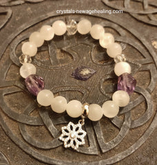 Bracelet - Selenite & Amethyst with Charm