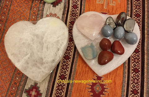 Selenite large charger Heart