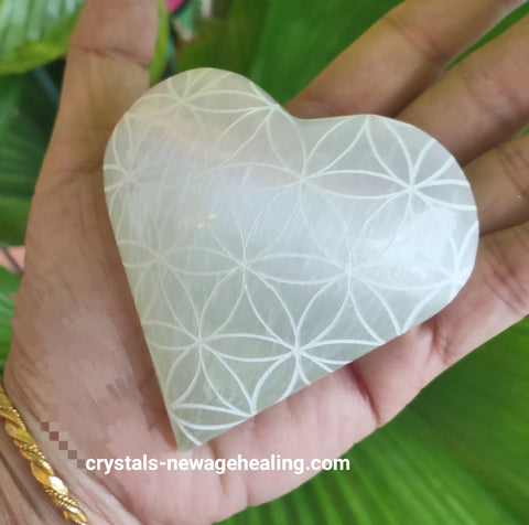 Crystal Selenite Heart Flower of Life