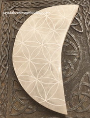 Crystal Selenite Flower of Life Crescent