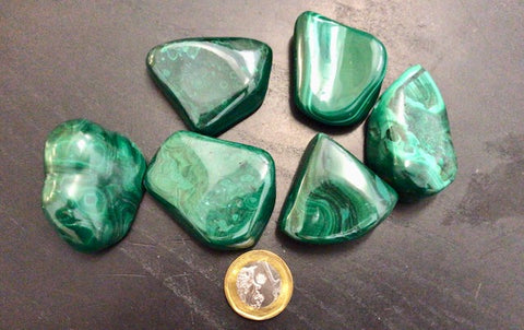 Malachite Tumbled estimated 40~50gm per piece; size 30 to 45mm
