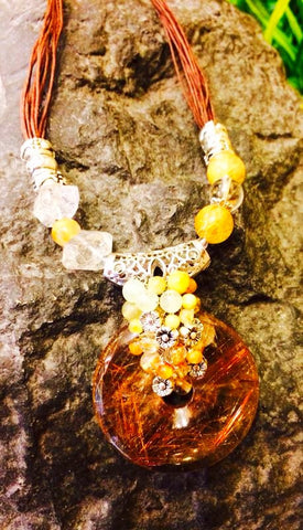 Necklace- Exquisite & Rare Golden Rutilated Quartz with Herkimer Diamonds