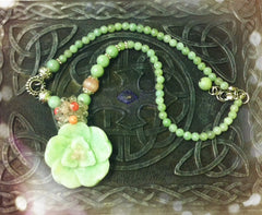 Necklace- Jade flower Pendant necklace
