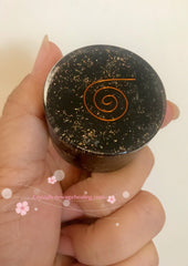 Orgone Black Tourmaline round estimated 40 x 25mm 70gm