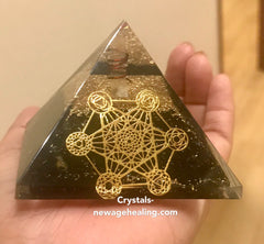Metatron Orgone- Black Tourmaline Pyramid 70 x 70 x 55mm