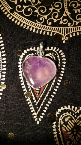 Pendant- Amethyst Heart (35mm to 40mm)