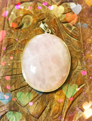 Pendant - Rose Quartz Oval - 40 x 30mm
