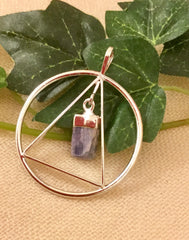 Blue Kyanite pendant silver plated triangle round